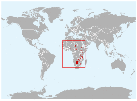 (African wild dog range map)